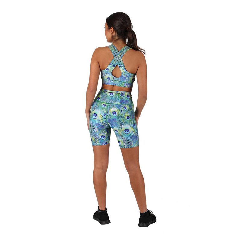 TIkiboo Peacock Feathers Running Short Pants - Back Model View