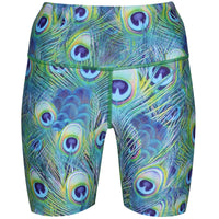 Tikiboo Peacock Feathers Running Shorts - Front Product View