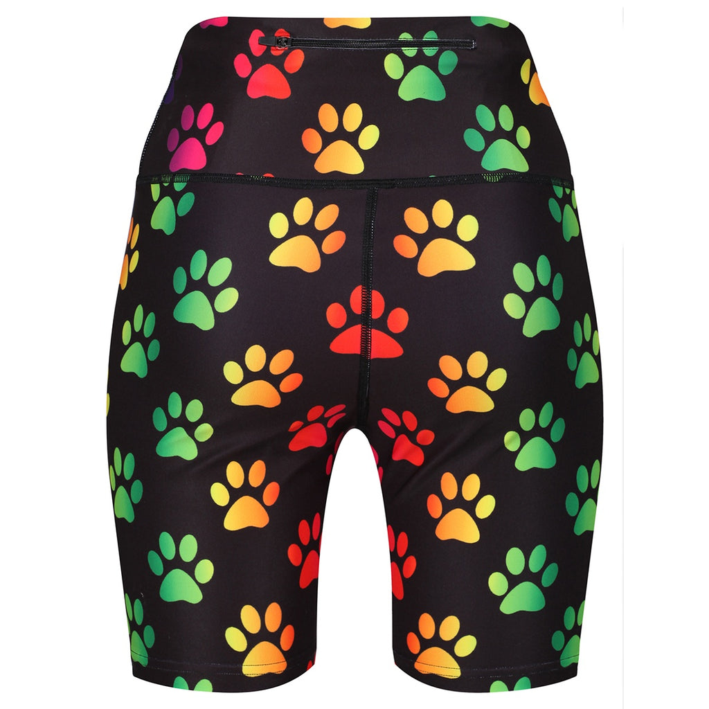 Tikiboo Rainbow Paw Print Running Short LYCRA - Back Product View
