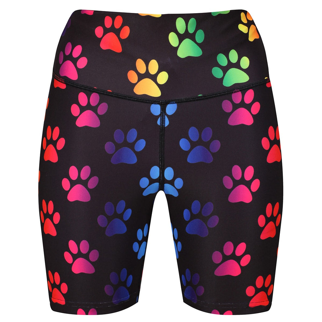 Tikiboo Rainbow Paw Print Running Shorts - Front Product View