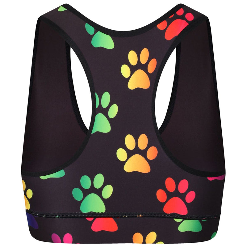 Tikiboo Rainbow Paw Prints Fitness Bra - Back Product View
