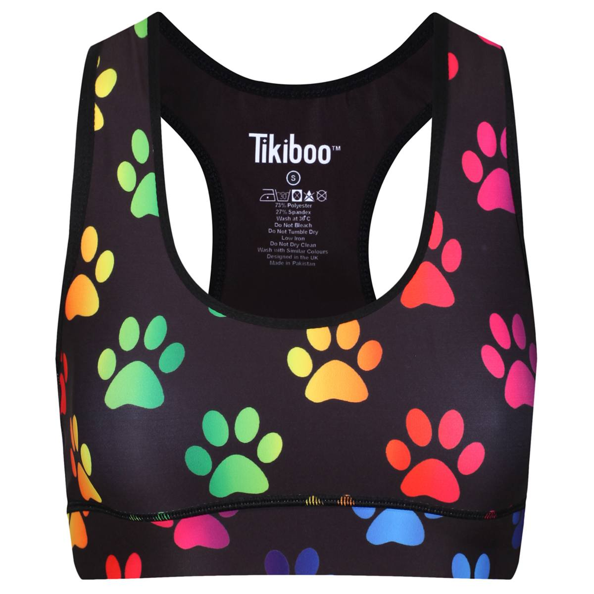 Tikiboo Rainbow Paw Prints Sports Bra - Front Product View
