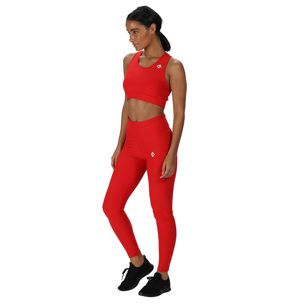Tikiboo Red Diamond Sports Crop Top - Front Model View