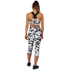 Tikiboo Monochrome Camo Cross Back Bra - Back Model View
