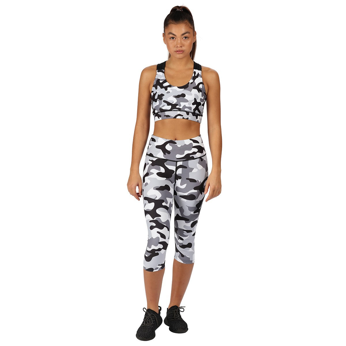Tikiboo Monochrome Camo Cross Back Crop Top - Front Model View