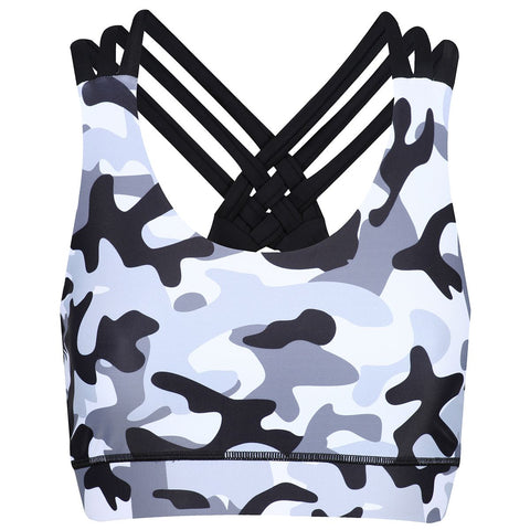Tikiboo Monochrome Camo Cross Back Bra - Front Product View