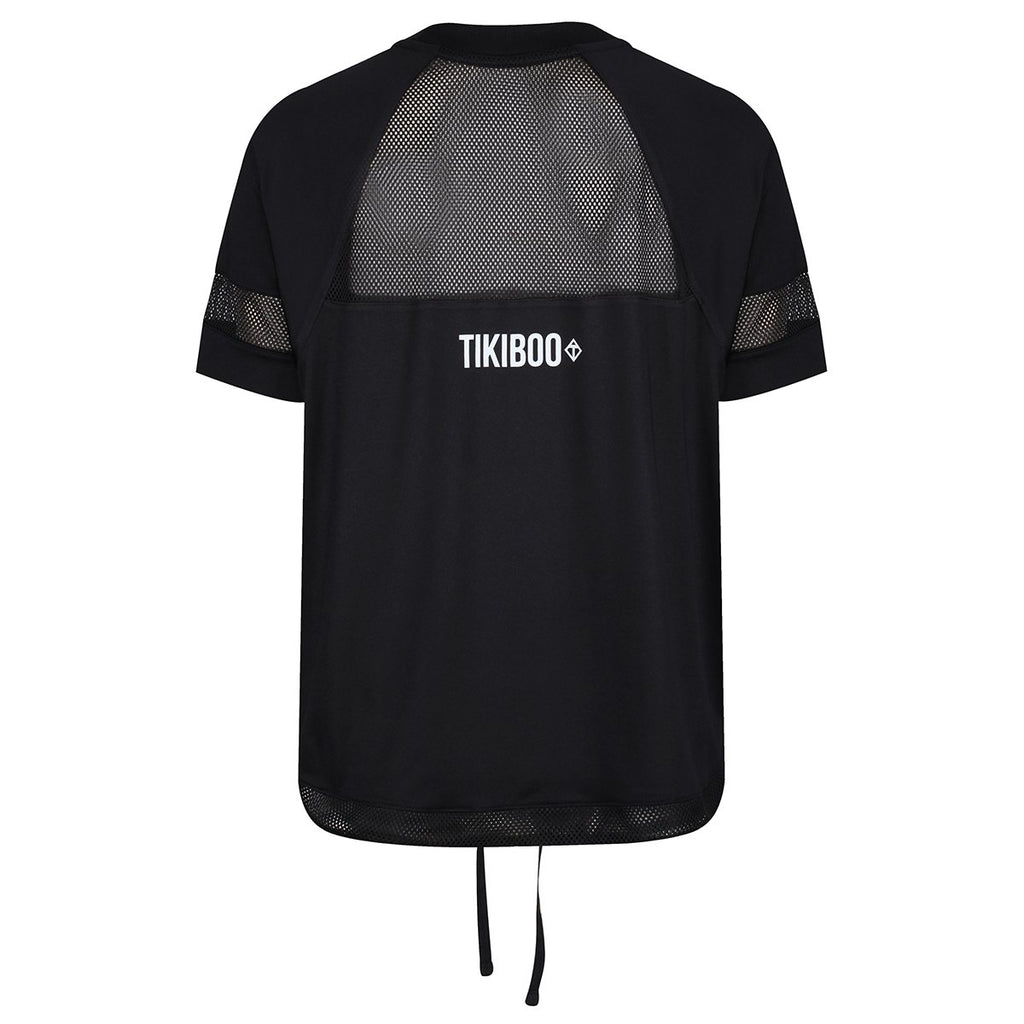 Tikiboo Black Mesh Drawstring Tech Tee Shirt - Back Product View