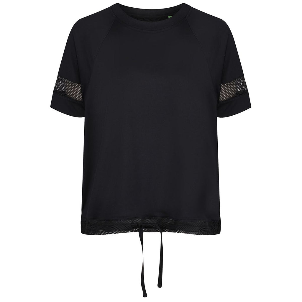 Tikiboo Black Mesh Drawstring T-Shirt - Front Product View