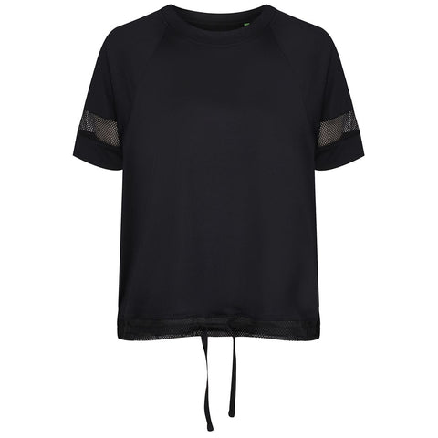 Black Mesh Drawstring T-Shirt