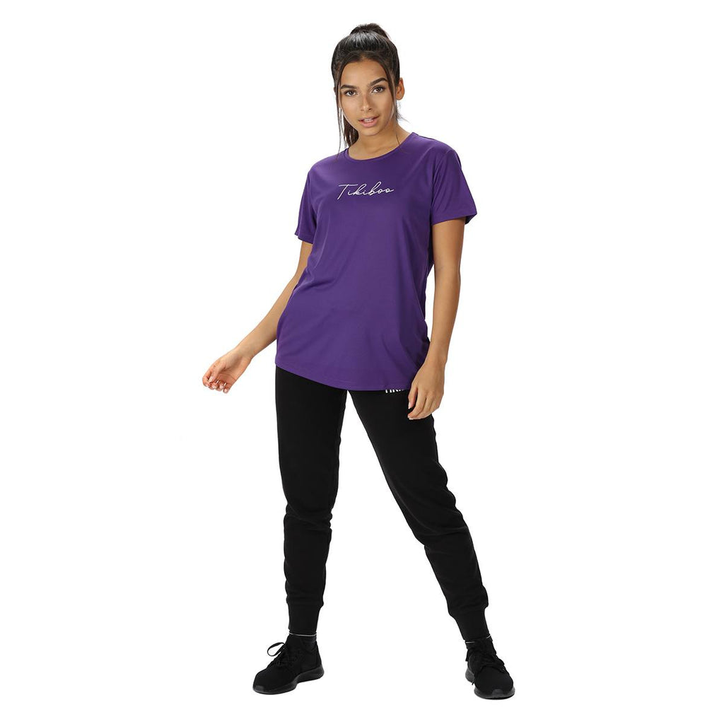 Tikiboo Purple Essence Technical Tee Shirt - Front Model View