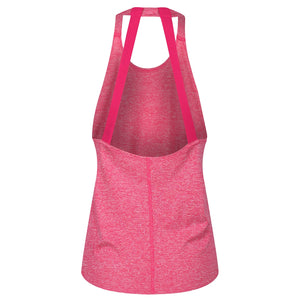 Tikiboo Pink Melange Diamond Double Strap Vest Top - Back Product View