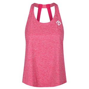 Tikiboo Pink Melange Diamond Double Strap Vest - Front Product View