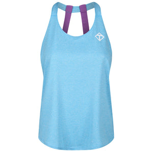 Tikiboo Turquoise Melange Diamond Double Strap Vest - Front Product View
