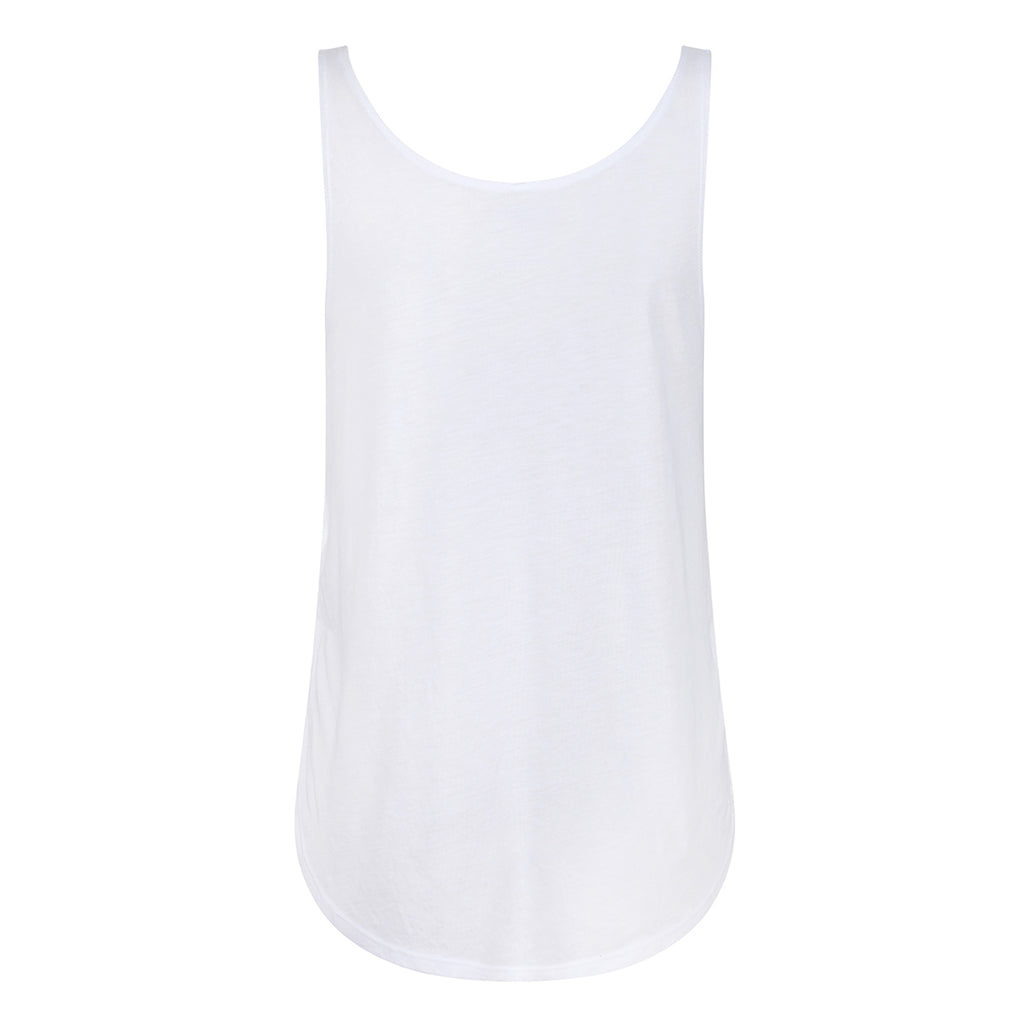 Tikiboo White Split Side Flowy Vest Top - Back Product View