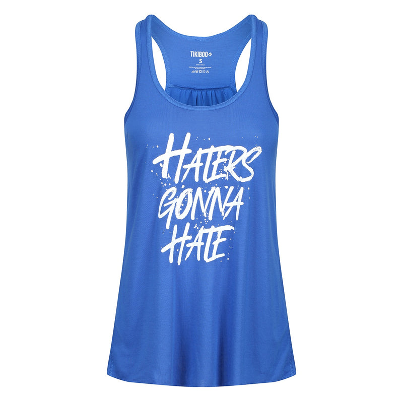Tikiboo Royal Blue 'Haters Gonna Hate' Flowy Vest - Front Product View