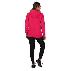 Tikiboo Hot Pink Zip Up Hooded Sweatshirt Top - Back Model View