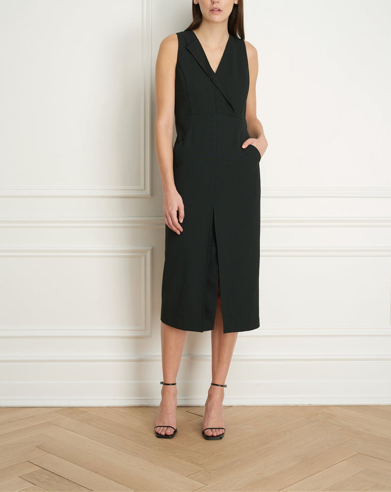 Load image into Gallery viewer, Black dress with asymmetrical lapel