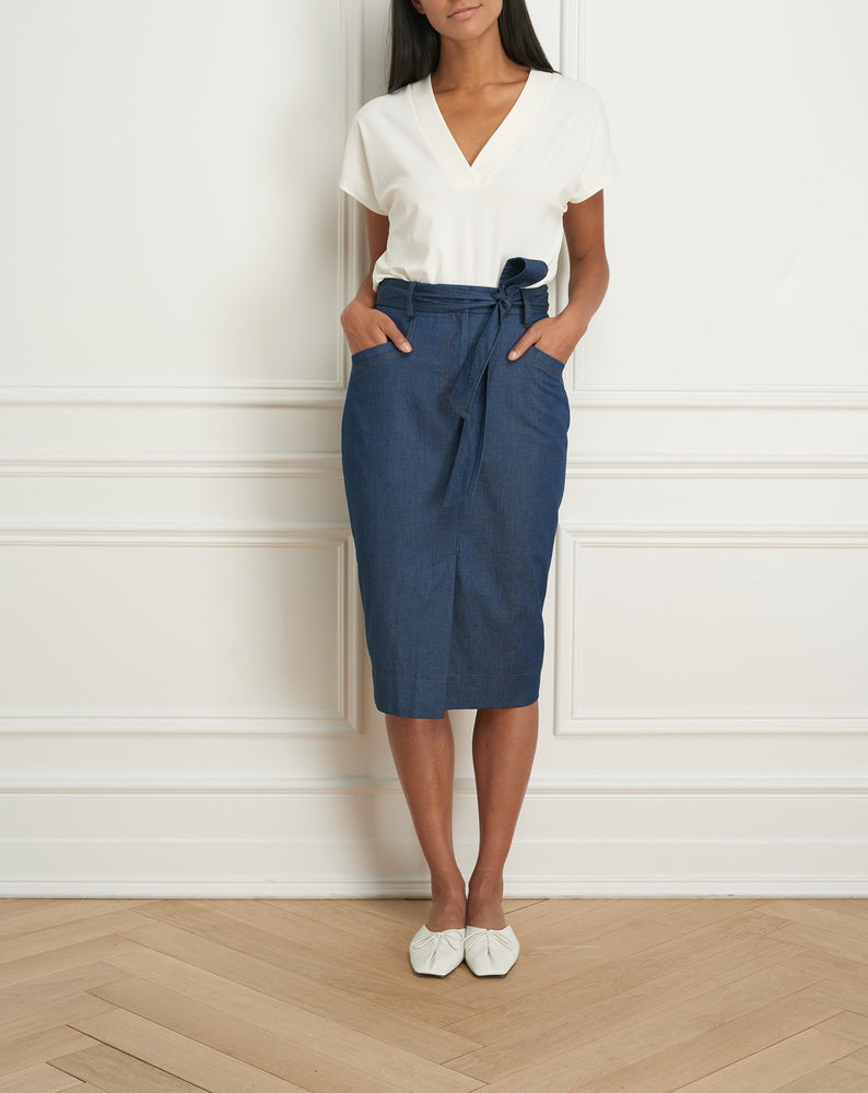 Denim pencil skirt with pockets and belt