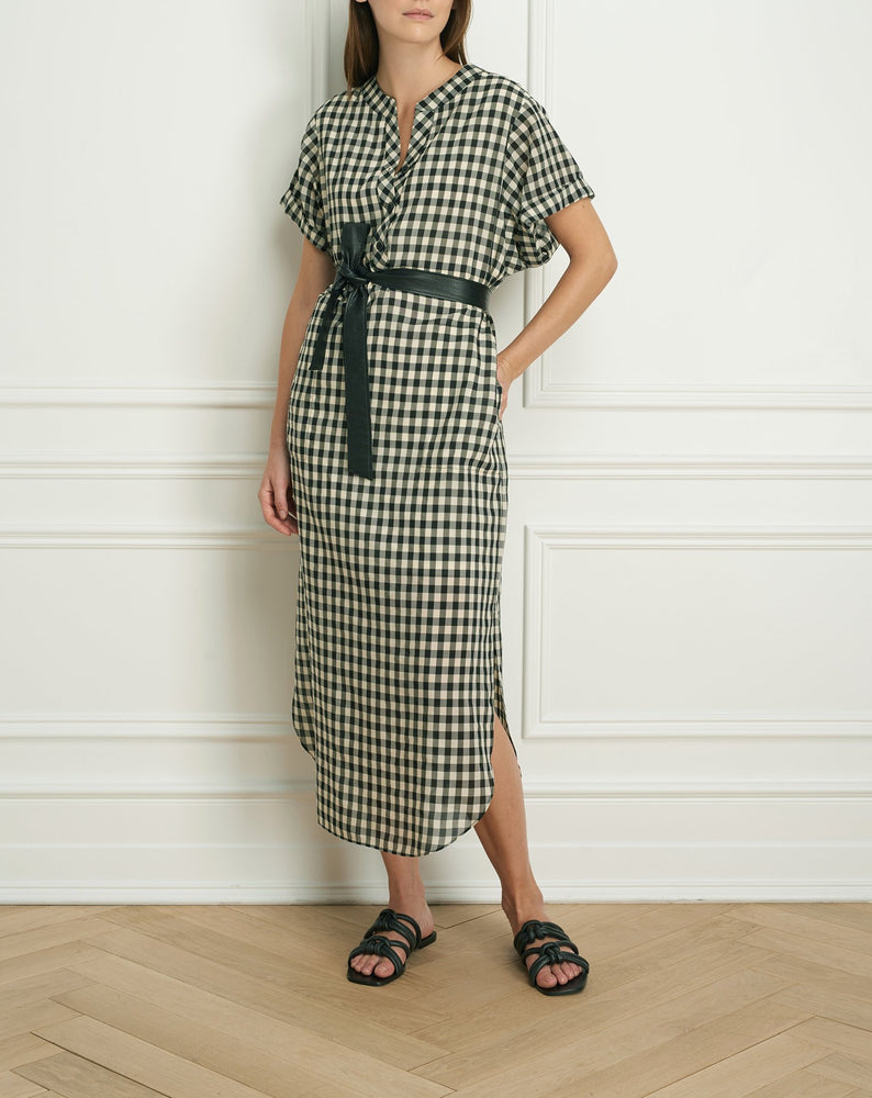 Shirt dress with rolled sleeve