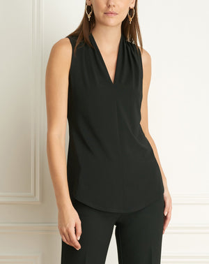 Load image into Gallery viewer, Matte jersey sleeveless pleated v-neck top