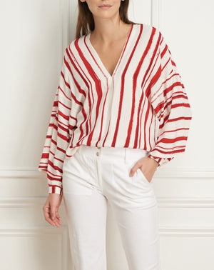 Load image into Gallery viewer, V-neck blouse 3/4 sleeve