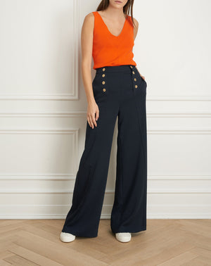 Load image into Gallery viewer, Wide leg pant with button detail