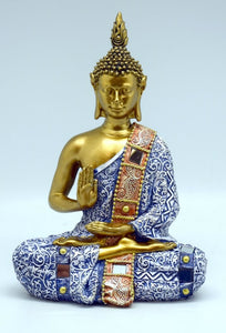 Buddha with Blue Clothing and Mirror Ornaments