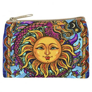 DRAGON SUN GRAPHIC PRINT COIN PURSE