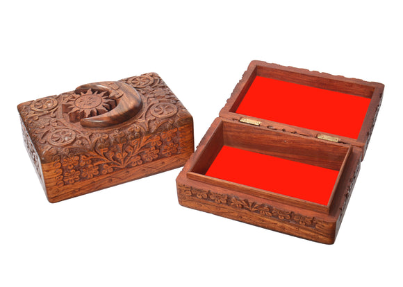 MOON AND SUN CARVED WOODEN BOX