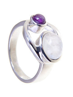 AMETHYST MOONSTONE GODDESS RING