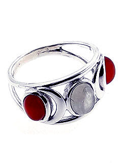 Moonstone and Carnelian Ring