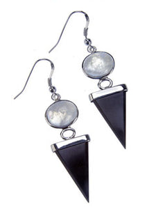 BLACK ONYX MOONSTONE EARRINGS