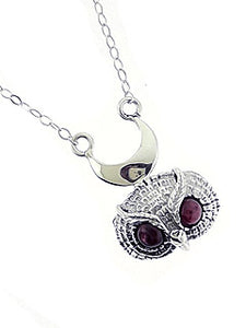 GARNET OWL NECKLACE