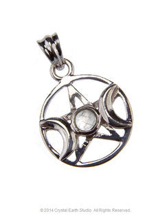 TRIPLE GODDESS MOONSTONE PENTACLE