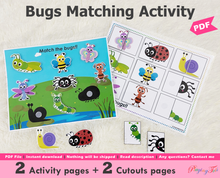 Load image into Gallery viewer, Bugs Matching Activities, Shadow or Silhouette Matching Activity