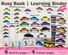 Load image into Gallery viewer, Car Themed Busy Book, Vehicle Busy Book