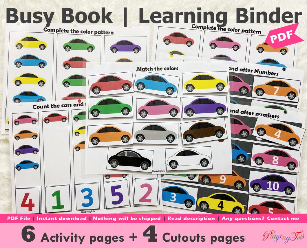 Car Themed Busy Book, Vehicle Busy Book