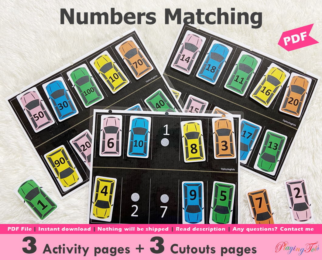 Car Parking | Numbers Matching Activity