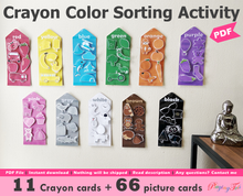 Load image into Gallery viewer, Crayons Colors Sorting Activity Printable, Sort the pictures by color, Homeschool Learning Wall Activity