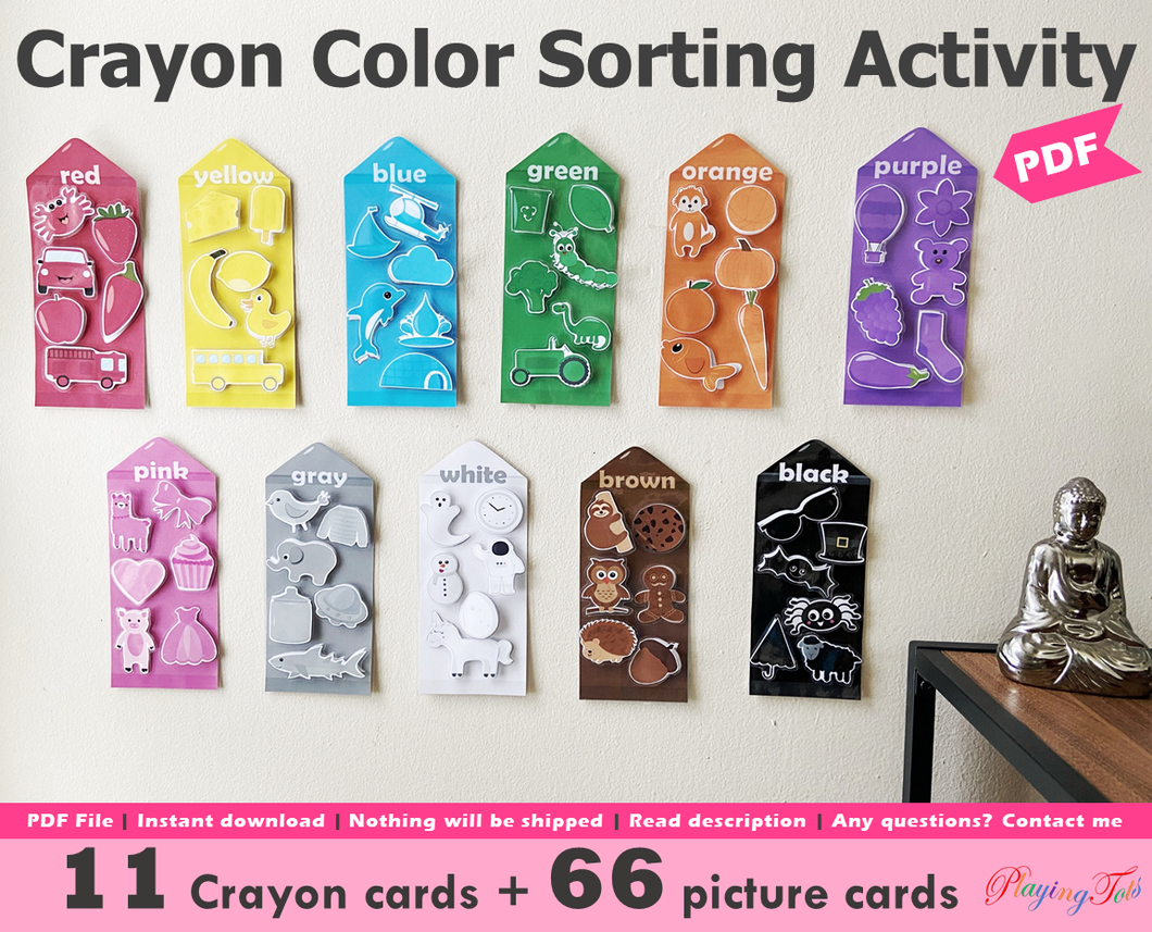Crayons Colors Sorting Activity Printable, Sort the pictures by color, Homeschool Learning Wall Activity
