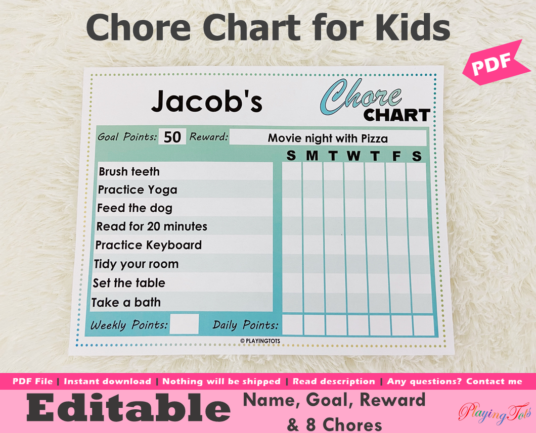 Editable Chore Chart, Kids Chore Chart, Daily Routine Tracking Chart, Daily Tasks for Kids