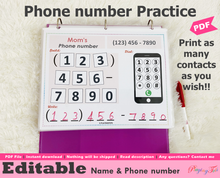 Load image into Gallery viewer, Editable Phone Number Practice Activity, Learn Emergency Contact Numbers Activity