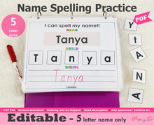 Load image into Gallery viewer, Editable 5 Letter Name Spelling Practice Activity Printable, Name Building and Writing
