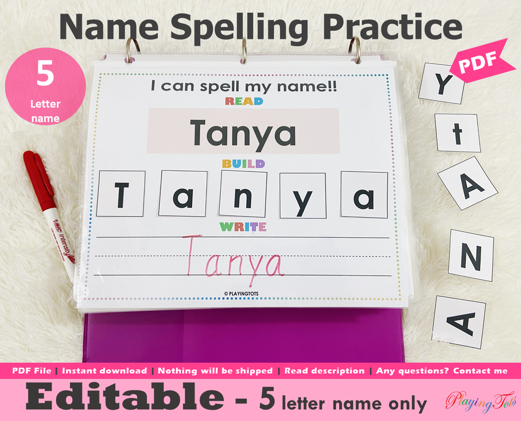 Editable 5 Letter Name Spelling Practice Activity Printable, Name Building and Writing