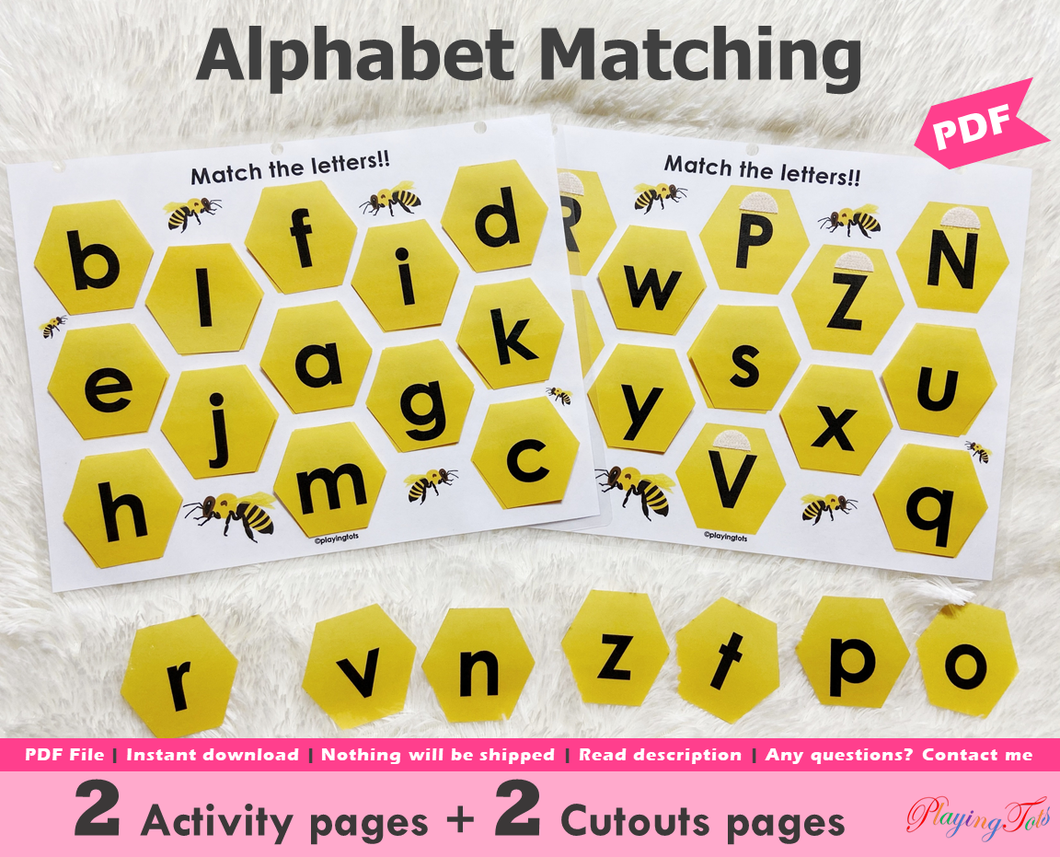 Honeycomb Alphabet Matching Activity, Uppercase and Lowercase letters Match