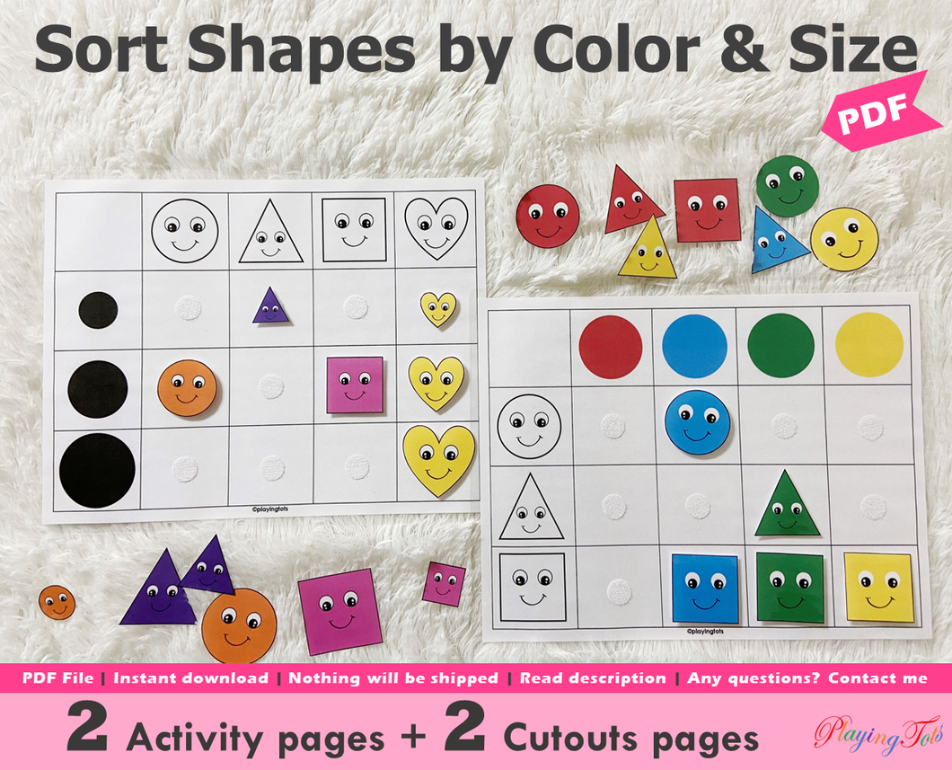 Colors Sorting and Size Sorting Activity