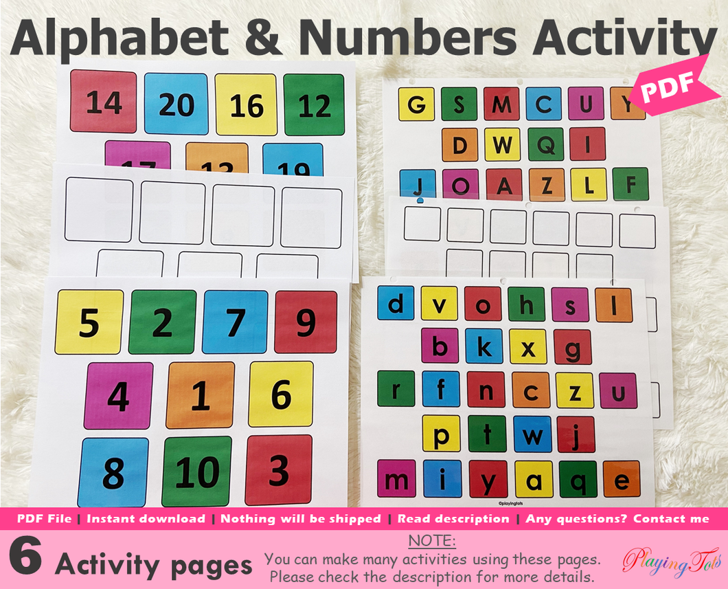 Alphabet and Numbers Matching Activity