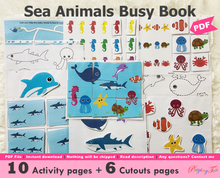 Load image into Gallery viewer, Sea Animals Busy Book