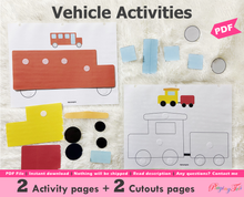 Load image into Gallery viewer, Vehicles Activity Sheets
