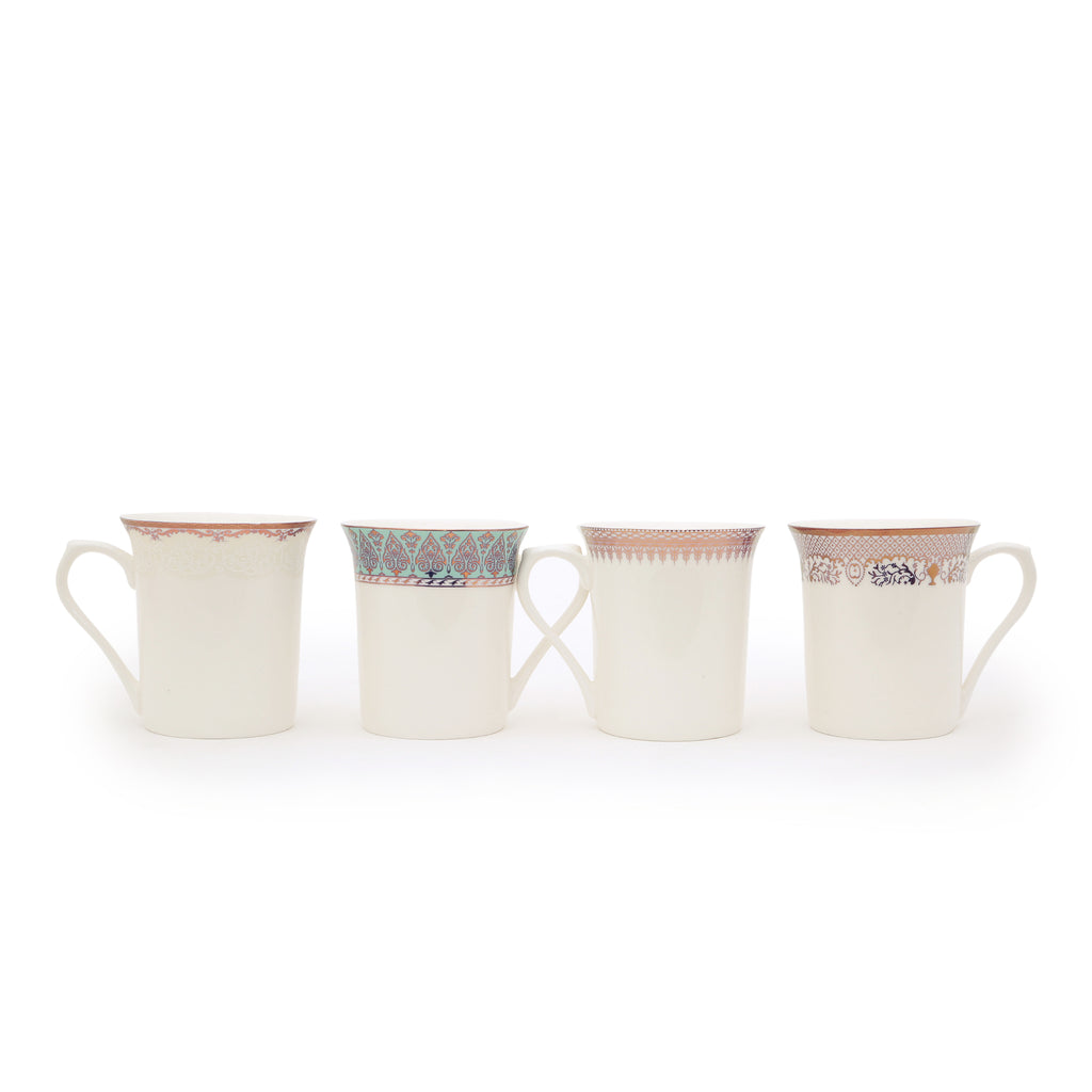 Bone China Cups | Set of 6 Spouted Mugs | Home & Table